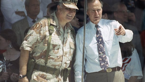 Schwarzkopf and Bush at Victory Parade in 1991